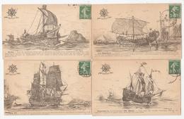 Lot De 10 Cartes - Ligue Maritime Française - Histoire Des Navires : Le Napoléon, Soleil Royal, Le Monitor, Cuirassé.... - Other