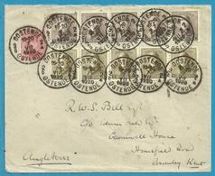 138+165(x5)+166(x5) Op Brief Stempel OOSTENDE - 1919-1920 Roi Casqué