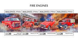 MALDIVES 2018 - Fire Engines: Citroen, Renault, Dodge - Mi 7988-91 - Coches