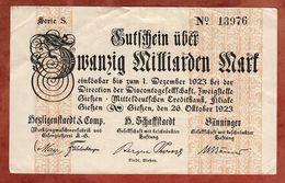 Giessen, Zwanzig Milliarden Mark, 1923 (89413) - Lokale Ausgaben