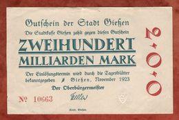 Giessen, Zweihundert Milliarden Mark, 1923 (89414) - [11] Local Banknote Issues