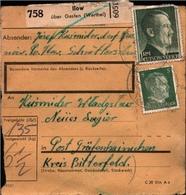! 1943 Paketkarte Deutsches Reich, Ilow, Wartheland Nach Gräfenhainichen, Lager - Allemagne