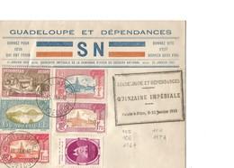 """Rare Lettre Guadeloupe """"Quinzaine Impériale Su Secours National"""" 1942 Avec Timbres YT 105,106,114,116A Et 117A - Brieven En Documenten"""