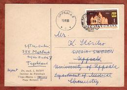 Karte, Sparkassengebaeude, Bukarest Nach Uppsala Weiter Marbach 1966 (89419) - Briefe U. Dokumente