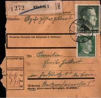 ! 1943 Paketkarte Deutsches Reich, Küstrin Nach Zedtlitz Bei Borna - Covers & Documents