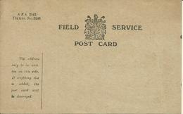 British Field Service Post Card   Unused - WW1