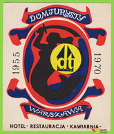 Voyo HOTEL DOM TURYSTY Warszawa Warsaw  Poland Hotel Label 1970 Vintage Commemorative - Hotel Labels