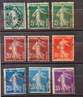 France 1906 - Semeuse Camée N°137*3 - 139*2 - 134*1 - 140*2 - 142*1 - Lot De 9 Timbres - 1906-38 Säerin, Untergrund Glatt