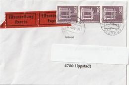Deutschland. Brief Mit 3 Briefmarken Und Stempel. 1990. Bohrinsel. Einschreiben. - Mineralien