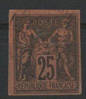 N°43 Cote 330 € SIGNE A. BRUN / COLONIES GENERALES 25ct Noir S/ Rouge Type Sage. Oblitéré. Lire Description - Sage