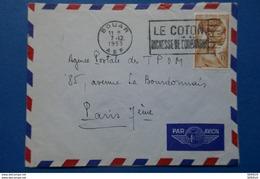7 FRANCE Afrique Equatoriale Française -1953 LETTRE DE BOUAR A PARIS RUE LA BOURDONNAIS 7EME Cachet LE COTON - Lettres & Documents