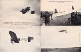 LOT DE 7 CARTES POSTALES DE LA GRANDE SEMAINE D AVIATION DE CHAMPAGNE ET 1 CARTE LE DIRIGEABLE FRANCAIS CLEMENT BAYARD - Aviateurs