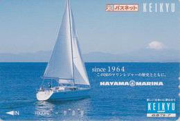 Carte Prépayée Japon - BATEAU VOILIER & MONT FUJI - SAILING SHIP Japan Prepaid Keikyu Bus Card -  247 - Boten