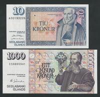 ICELAND 1000 + 10 KRONUR 1961 / 2001 UNC - IJsland