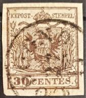 AUSTRIA / LOMBARDO-VENEZIA 1850/54 - ...OGNO... Cancel - ANK LV4 - 30 Centes - Used Stamps