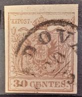 AUSTRIA / LOMBARDO-VENEZIA 1850/54 - PADOVA Cancel - ANK LV4 - 30 Centes - Oblitérés