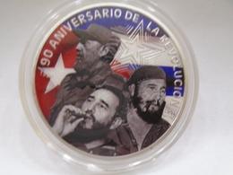 Cuba, Medalla De Plata En Honor Al 90  Aniversario Del Nacimiento De Fidel Castro, Brillante, Sin Circular, Bella. - Elongated Coins