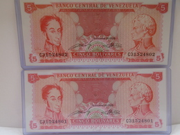 Venezuela,(2)$5 Banknotes 1989,Consecutive, Crisp, UNC. - Venezuela