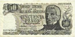 Argentina - 50 Pesos - ND ( 1974 - 75 ) - Pick 296 - Serie A - Sign. Titles C - General San Martin - Argentina