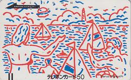TC Ancienne Japon / 110-9020 - BATEAU Voilier Phare Dessin Peinture - SHIP & Lighthouse Japan Front Bar Pc / A - 271 - Bateaux