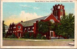 Mississippi Hattiesburg Sacred Heart Of Jesus Catholic Church 1943 Curteich - Hattiesburg
