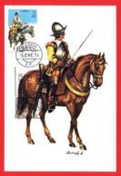 España. Spain. 1974. FDC. Uniformes Militares. Coracero De Caballeria. Tarjeta Maxima. Maximun Card - Tarjetas Máxima