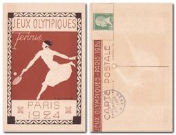FRANCE - PARIS 1924 Tennis Entier Postal Jeux Olympiques / Official Stationnary Post Card Olympic Games - Rare / Perfect - Ete 1924: Paris