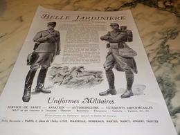 ANCIENNE PUBLICITE LE MAGASIN BELLE JARDINIERE UNIFORME MILITAIRE 1915 - 1914-18