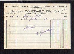 """1937.  Facture Entête Chiffons,Peaux,Métaux,Crins,Sauvagines """" Georges Gouédard Fils  """" Succ. à Dozulé 14 - 1900 – 1949"""