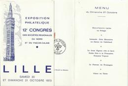 Exposition De Lille 1973, Menu Oblitéré Avec Un Cachet Provisoire, Fleur De Lys - France