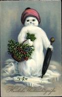 Cp Frohe Weihnachten, Schneemann, Korb, Mistelzeige, Regenschirm - Natale