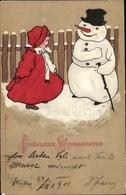 Gaufré Lithographie Frohe Weihnachten, Schneemann, Mädchen In Rotem Mantel - Natale