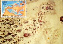 CELEBRAZIONI COLUNBIANE  GENOVA CARTA DEL MEDITERRANEO  1990 MAXIMUM POST CARD (GENN200306) - Esposizioni Filateliche