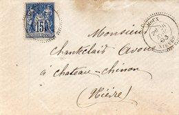 Cachet 22 MOUX,L.S.C. Pour CHATEAU CHINON Le 26/11/93 - Marcophilie (Lettres)