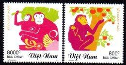Vietnam 2129/30 Zodiaque Chinois, Année Du Singe , Pomme - Astrologie