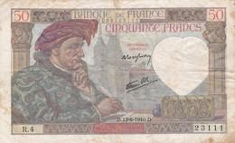 Billet De  50 Francs Jacques Coeur  1940 - 1871-1952 Antichi Franchi Circolanti Nel XX Secolo