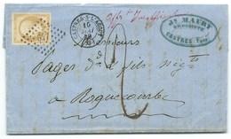 N° 13 BISTRE NAPOLEON SUR LETTRE / CASTRES SUR L'AGOUT TARN POUR ROQUECOURBE / 1859 / TAXE MENTION AFFT INSUFFISANT - 1849-1876: Classic Period
