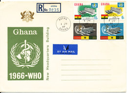 Ghana Registered FDC Accra 1-7-1966 WHO Complete Set Of 4 With Cachet - Ghana (1957-...)
