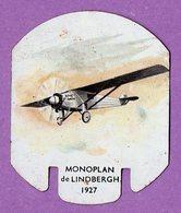 Plaque Publicitaire En Metal Moutarde Parizot Avion Monoplan De Lindberg 1927 - - Plaques En Tôle (après 1960)