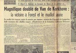Tour De France 1964 : Bernard Van De Kerkhove Gagne à Forest Et Prend Le Maillot Jaune ! (Le Soir Du 25/6/1964) - Kranten