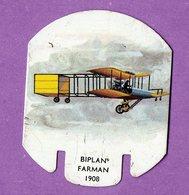Plaque Publicitaire En Metal Moutarde Parizot Avion  Biplan Farman 1908 - - Plaques En Tôle (après 1960)