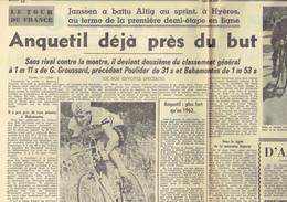 Tour De France 1964 : Anquetil Déjà Près Du But ; F. Bracke 4ème ; Groussard Toujours En Jaune ! (Le Soir Du 2/7/1964) - Kranten