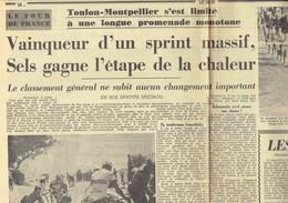 Tour De France 1964 : Edouard Sels Gagne L'étape De La Chaleur (Le Soir Du 3/7/1964) - Kranten