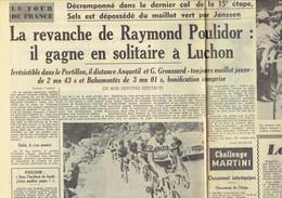 Tour De France 1964 : Poulidor Gagne En Solitaire à Luchon ; Groussard Toujours En Jaune (Le Soir Du 8/7/1964) - Kranten