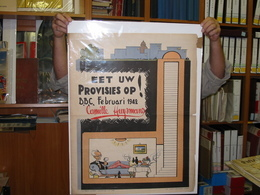 4 Oude Affiches 60X40cm Verkiezingen 1946 CVP ANTI Socialistisch Huysmans Van Acker Karikaturen Jef Nys Of MArc Sleen VG - Nero