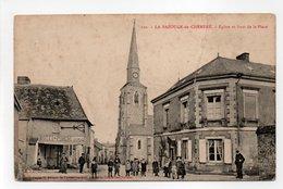 - CPA LA BAZOUGE-DE-CHEMERÉ (53) - Eglise Et Haut De La Place (belle Animation Devant L'HOTEL DU PORCHE) - - Autres Communes
