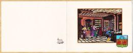 ILL139 Rare EPICIERS-APOTHICAIRES En 1460 Carte-Double Style Enluminure Fait Main MONACO Blason Héraldique Métier 1960s - Illustrateurs & Photographes