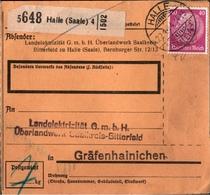 ! 1934 Paketkarte Deutsches Reich, Halle / Saale, Landelektrizität Nach Gräfenhainichen - Briefe U. Dokumente