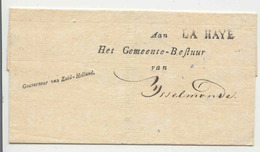 BRIEFOMSLAG * POSTHISTORIE Van LA HAYE * Gouverneur Zuid Holland Aan Gemeentebestuur Van IJsselmonde (17) - ...-1852 Precursores