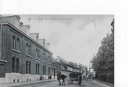 1 Cpa Leuze : Rue De Condé Et Gendarmerie. Attelage, Charrette - Leuze-en-Hainaut